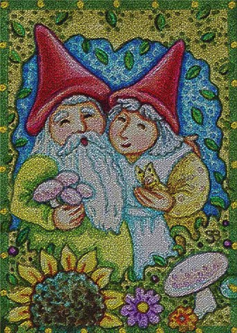 Gnomes Hunting Mushrooms Fantasy Folklore Susan Brack Art Illustration
