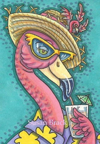 Pink Flamingo Bird Beach Vacation Drink Sunglasses Susan Brack Art Illustration Licensing
