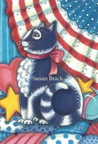 Americana Country Cat Kitten Feline Patchwork Quilt Susan Brack Art Illustration License