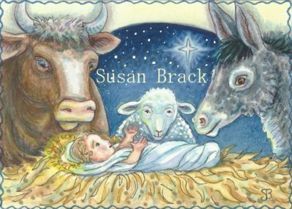 Nativity Stable Animals Baby Jesus Donkey Sheep Ox Manger Susan Brack Religious Art