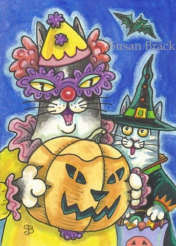 Hiss N Fitz Cat Halloween Clown Costume Susan Brack Art Feline Humor License