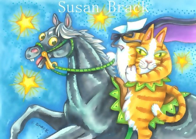 Hiss N' Fitz Halloween Cat Sleepy Hollow Headless Horseman Susan Brack Art Feline EBSQ