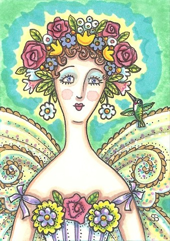 Mother Nature Woman Fairy Whimsy Portrait Susan Brack Hummingbird Art Illustration