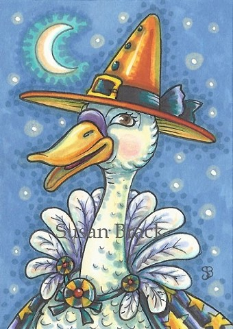 Hallween Witch Goose Duck Holiday Susan Brack Art Illustration Licence Licensing