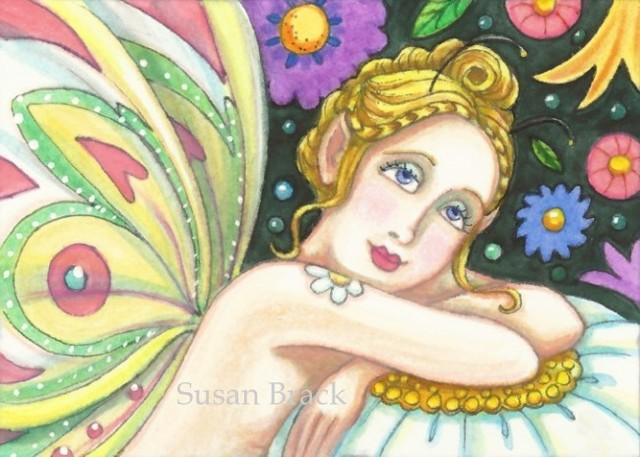Fairy Nymph Butterfly Wings Girl Fantasy Flower Garden Susan Brack Art License