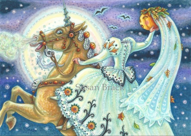 Bride Sleepy Hollow Sidesaddle Headless Horsewoman Unicorn Palomino Susan Brack Halloween