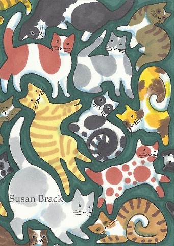 Cats Felines Kittens Design Calico Susan Brack Art Illustration License