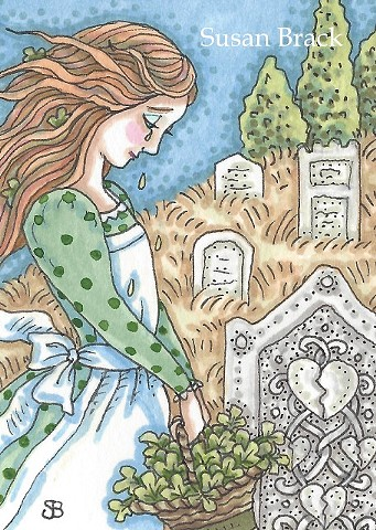 Cemetery Mourning Irish Lass Girl Shamrocks Grave Tears Susan Brack Art Ink