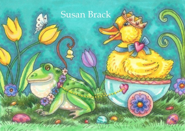 Easter Egg Cart Duck Duckling Frog  Holiday Fantasy Whimsy Spring Susan Brack Art