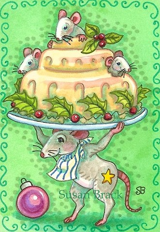 Christmas Pudding Mouse Mice Holiday Humor Holiday Susan Brack Art Illustration EBSQ