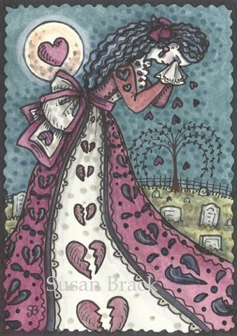 Cemetery Mourning Broken Heart Goth Gothic Valentine Susan Brack Art Illustration