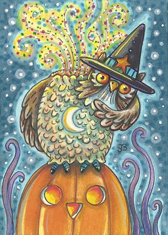 Sleepy Hollow Headless Horseman Owl Halloween Susan Brack