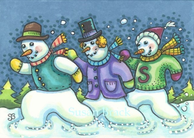 Christmas Snowman Running Snowmen Snow Winter Holiday Susan Brack Art EBSQ Humor