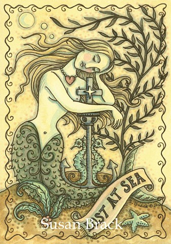Lost At Sea Anchor Sailor's Grave Mermaid Siren Illustration Fantasy Susan Brack Art License