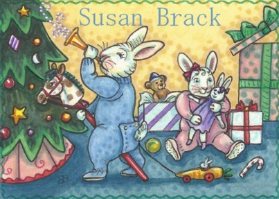 Bunny Rabbits Christmas Morning Tree Children Gifts Holiday Susan Brack