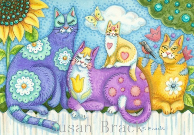 Cats Felines Kittens Whimsical Susan Brack Art Illustration License