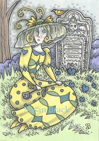 Cemetery Mourning Lover Woman Widow Grave Yellow Dress Susan Brack Art Illustration