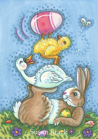 Easter Egg Bunny Rabbit Hare Duck Chick Cartoon Humor Susan Brack Art License
