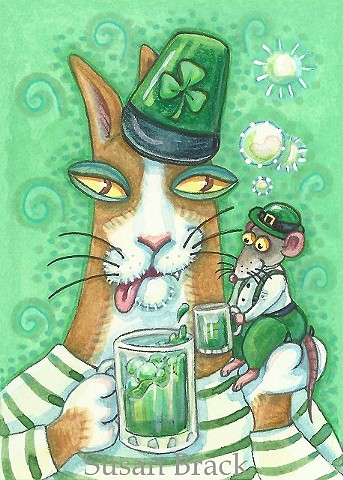 Hiss N Fitz Irish Cat Mouse Rat St. Patricks Day Green Beer Susan Brack Art License