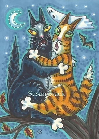 Hiss N' Fitz Cat Kittens Scaredy Cats Spooky Ghost  Susan Brack Art Illustration Feline EBSQ Humor