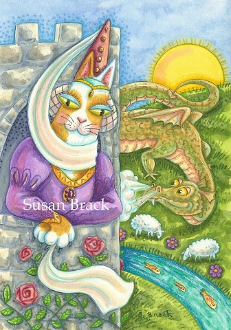 Hiss N' Fitz Cat Kitten Dragon Damsel Castle Fantasy Susan Brack Art Feline License EBSQ