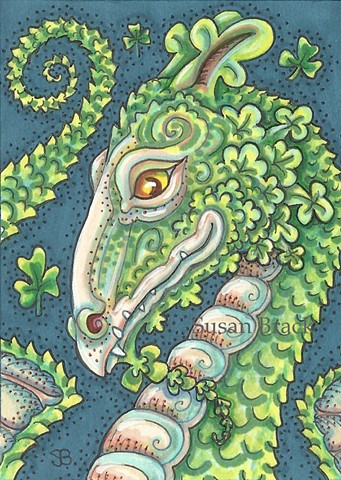 Irish Shamrock Dragon St. Patricks Day Susan Brack Fantasy Art Illustration ACEO EBSQ