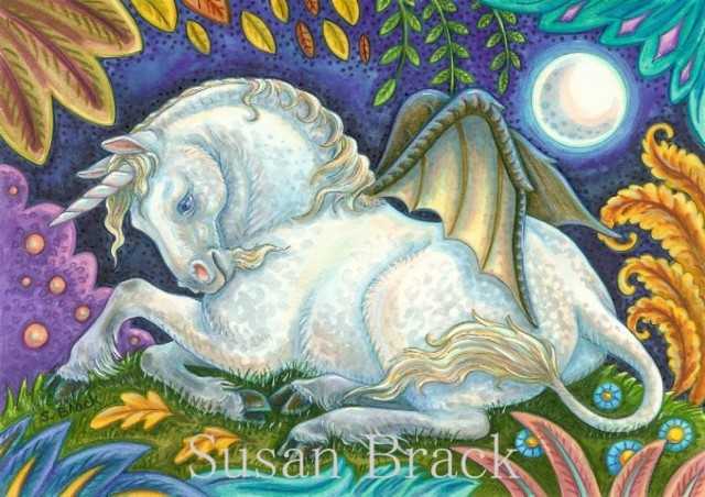 Goth Gothic Medieval Bat Winged Horse Unicorn Fantasy Susan Brack Art License