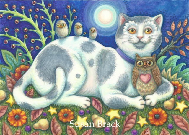 Cat Owls Owlets Bird Feline Folk Art Susan Brack Illustration License