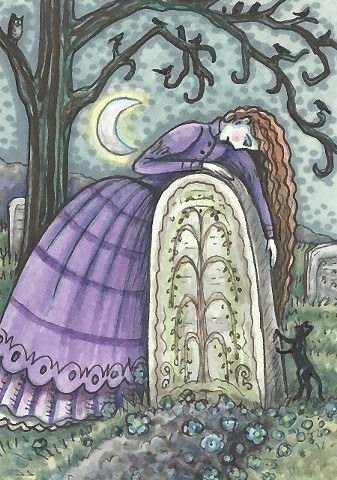 Cemetery Mourning Widow Woman Wife grave Goth Gothic Susan Brack Art Illustration