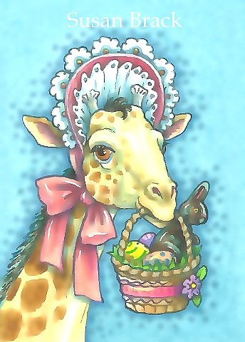 Easter Egg Basket Giraffe In Bonnet Holiday Whimsy Susan Brack Art