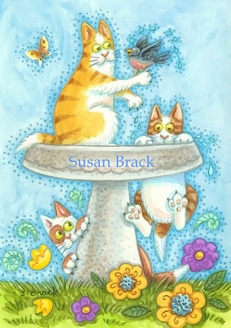 Hiss N' Fitz Cat Kittens Bird Bath Susan Brack Art Illustration Feline License EBSQ Humor