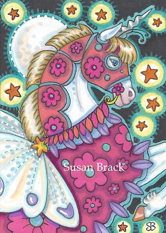 Fairy Fantasy Moon Moth Unicorn Horse Pony Susan Brack Art Illustration License Equine