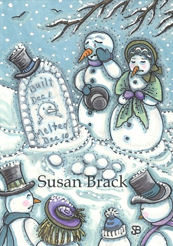 Melted Snowman Cemetery Frosty Snow Christmas Graveyard Susan Brack Art License