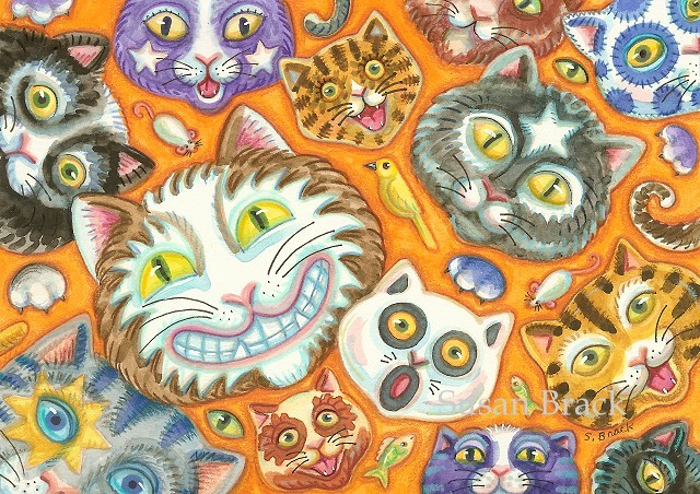 Crazy Cat Faces Halloween Party Feline Kitten Susan Brack Folk Art Illustration License