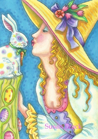 Easter Bunny Spring Witch Maiden Girl Eggs Magic Susan Brack Whimsical Art Licensing