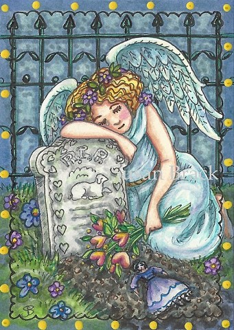Cemetery Mourning Weeping Angel Child's Grave Susan Brack Art Religious EBSQ Religious