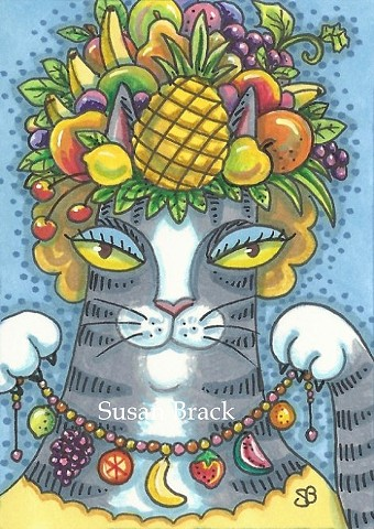 Hiss N' Fitz Cat Kitten Fruit Headdress Necklace Susan Brack Art Illustration Feline EBSQ