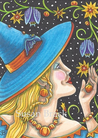 Witch Woman Halloween Bats Garden Vines Susan Brack Art