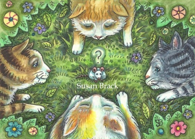 Cats Felines Kittens Mouse Mouser Rat Illustration Susan Brack Art License Humor