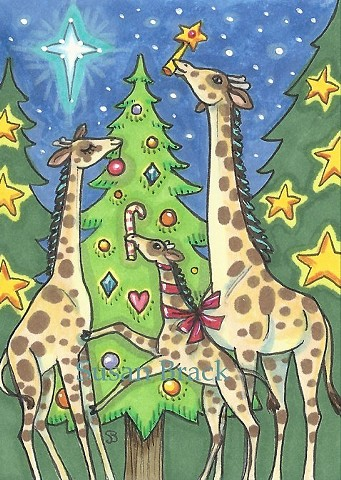 Trimming Christmas Tree Giraffes Toys Holiday Susan Brack Folk Art EBSQ