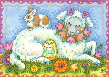 Easter Egg Lamb Basket Holiday Sheep Whimsy Spring Susan Brack