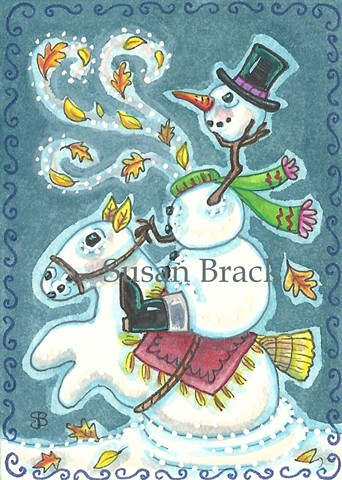 Christmas Headless Horseman Snowman Susan Brack Fantasy Halloween Art EBSQ Snow