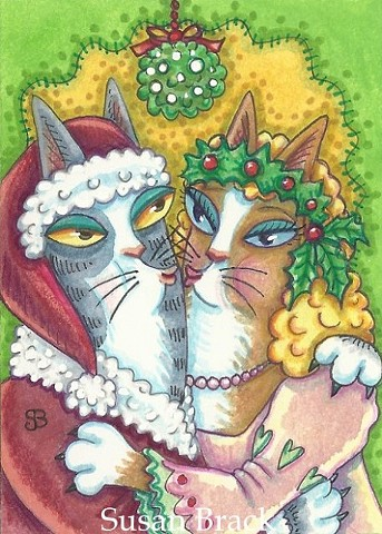 Hiss N Fitz Cat Christmas Santa Mrs Claus Mistletoe Holiday Susan Brack Art Humor