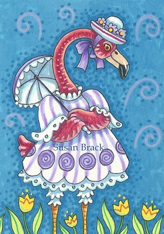 Pink Flamingo Parasol Easter Bonnet Bird Susan Brack Art Illustration License