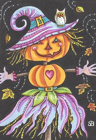 Witch Jack O Lantern Scarecrow Halloween Pumpkin Susan Brack Holiday Art Illustration