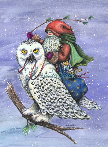 Christmas Santa Belsnickle Snow Owl Bird St. Nick Fantasy Susan Brack Art EBSQ LIcense