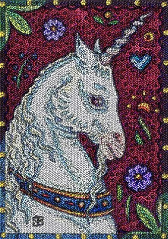 Unicorn Medieval Horse Fantasy Needlework Needlepoint Susan Brack Art Illustration License
