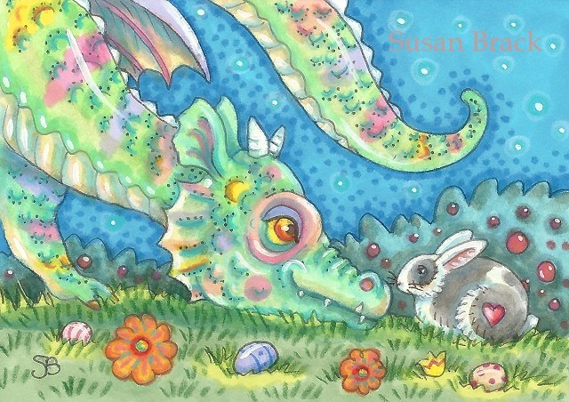 Easter Bunny Baby Rainbow Dragon Eggs Fantasy Susan Brack Whimsical Art Licensing
