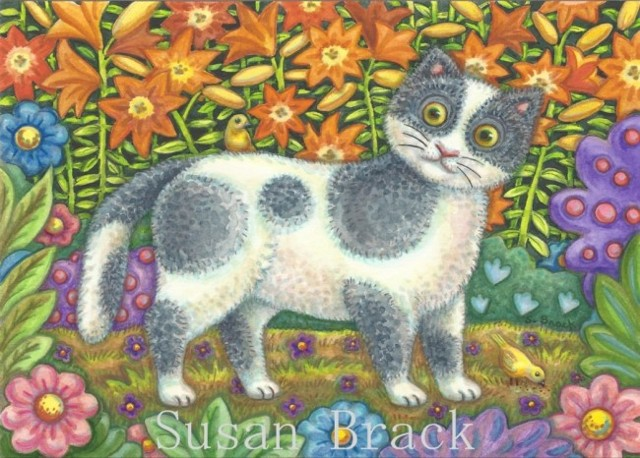 Folk Art Cat Kitten Feline Yellow Bird Canaries Flower Garden Susan Brack Art license