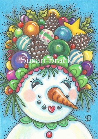 Snowgirl Snowman Snow Girl Christmas Ornaments Susan Brack Holiday Art Humor License